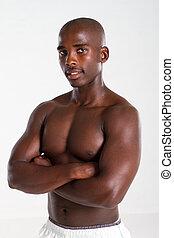 uomo, americano, giovane, africano, adattare