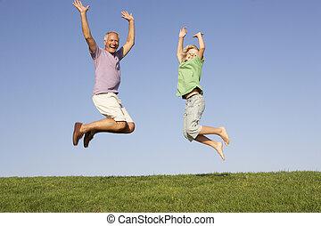 uomo, anziano, saltare, nipote, aria