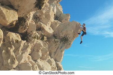 uomo, arrampicatore, giovane