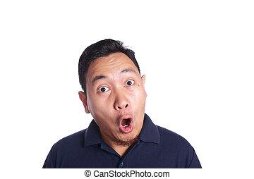 uomo asiatico, abbicare, con, parli modo enfatico apra