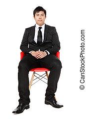 uomo, asiatico, giovane, affari, seduta