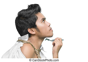 uomo, asiatico, rasatura