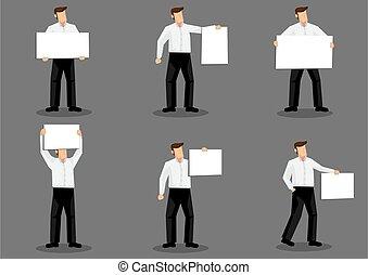 uomo, asse, carattere, illustrazione, cartone animato, vuoto, presa a terra, cartellone, vettore, segno, disegno