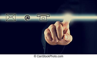 uomo, attivare, uno, sbarra, con, contatto, icone