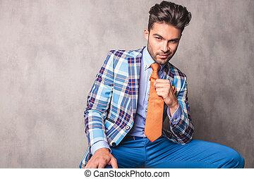 uomo, attraente, affari, seduta