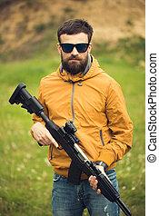uomo, automatico, fucile