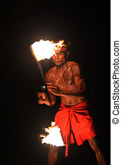 uomo, ballo, fijian, indigeno, prese, durante, fuoco, torcia