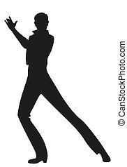 uomo, ballo, spagnolo, fondo, silhouette, flamenco, bianco, ballerino, isolato