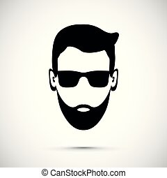 uomo, barba, icona