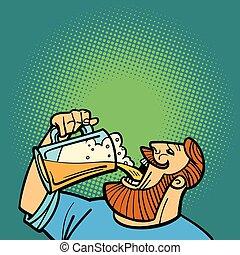 uomo barbuto, bere, tazza birra