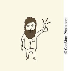 uomo barbuto, esposizione, su, pollice