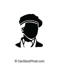 uomo, basco, illustrazione, vettore