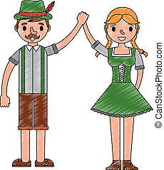 uomo, bavarese, holding donna, mani