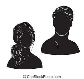 uomo, bianco, donna, fondo, faccia
