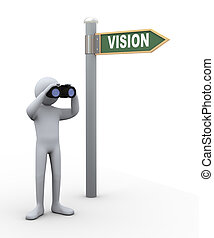 uomo, binoculare, visione, 3d