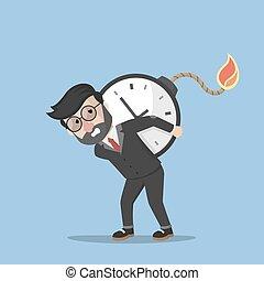 uomo, bomba, affari, tempo