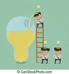 uomo, brainstorming, affari