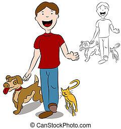 uomo cammina, con, suo, animali domestici, parco