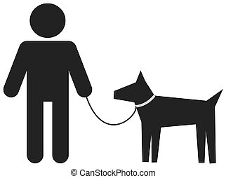 uomo cammina, suo, cane
