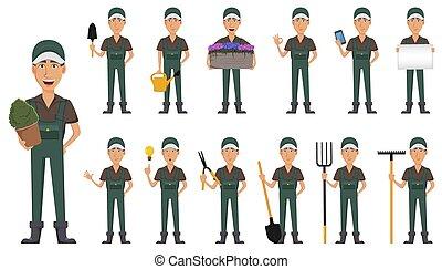 uomo, carattere, cartone animato, giardiniere, uniforme