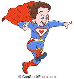 uomo, cartone animato, superhero