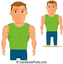 uomo, cartone animato, vettore, character., singlet, verde