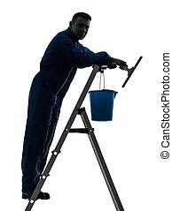 uomo, casa, lavoratore, custode, pulizia, finestra più pulita, silhouette