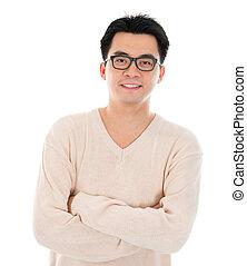 uomo, casuale, asiatico, indossare