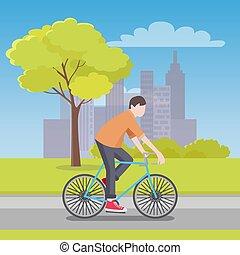 uomo, cavalcate, bicicletta, lungo, strada, con, città, su, orizzonte