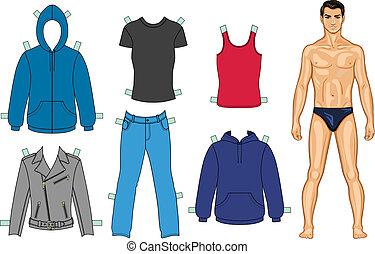 uomo, collezione, colorato, vestiti