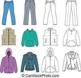 uomo, colorato, vestiti