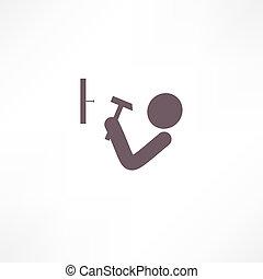 uomo, colpire, il, chiodo, con, uno, icona martello