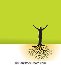uomo, con, albero, radici