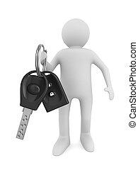 uomo, con, automobile, keys., isolato, 3d, immagine