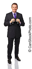 uomo, con, binoculare