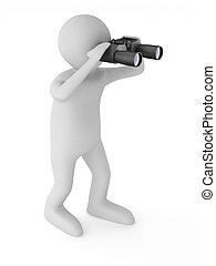 uomo, con, binoculare, bianco, fondo., isolato, 3d, immagine