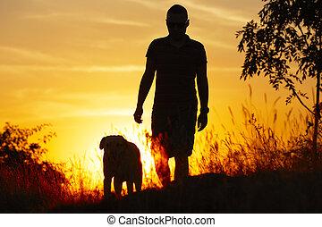 uomo, con, cane