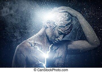 uomo, con, concettuale, spirituale, arte corpo