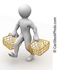 uomo, con, consumatore, cesto