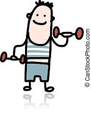 uomo, con, dumbbells, fare, esercizi, cartone animato, carattere