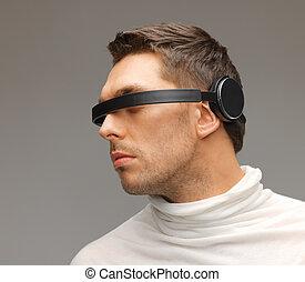 uomo, con, futuristico, occhiali