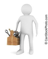 uomo, con, legno, toolbox., isolato, 3d, immagine