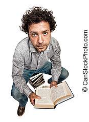 uomo, con, libri