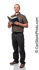 uomo, con, libro