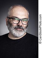 uomo, con, occhiali