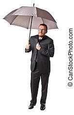 uomo, con, ombrello