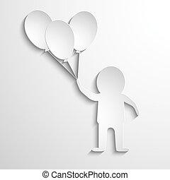 uomo, con, palloni, in, hands., bianco, carta