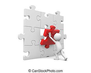 uomo, con, puzzle