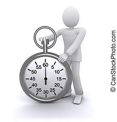 uomo, con, uno, cronometro, rapido, tempo