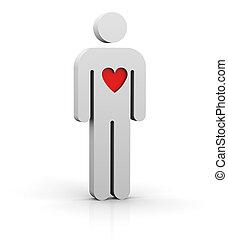 uomo, con, uno, grande, cuore